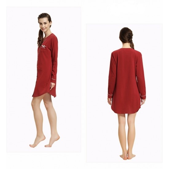 Maroon Cotton Contrast Couple Nightsuits With Pajama. SM-794