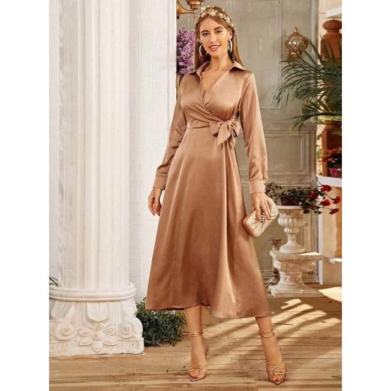 Women's Beige Tie Wrap Detail Silky Maxi Long Dress. LTAMD58-CAM