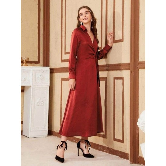 Women's Maroon Tie Wrap Detail Silky Maxi Long Dress. LTAMD58-MR