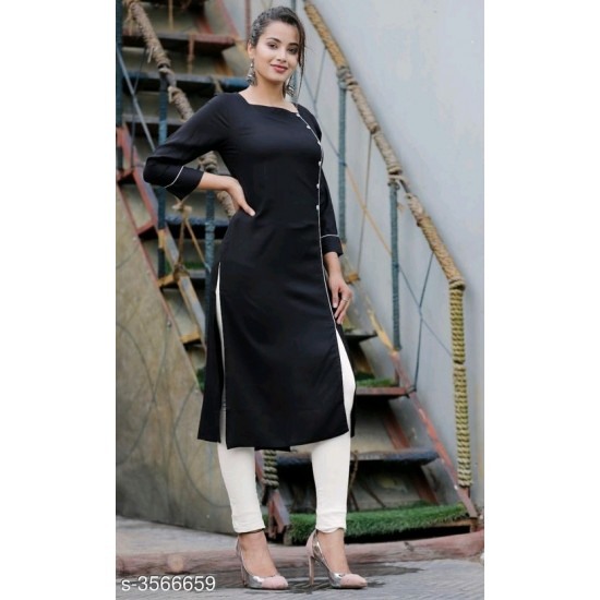 Women's Black Leg Open With Contrast Pipin Buttons 2 Pieces Suit. SM-483