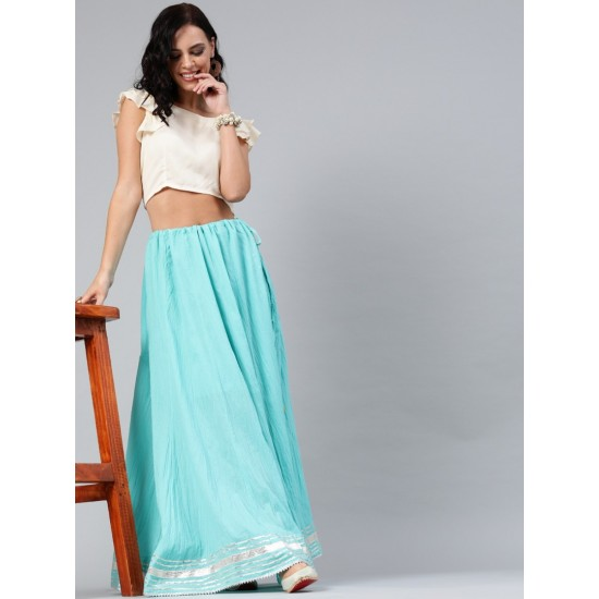 Women's Blue And Off-White Cotton Solid Top with Skirt. SM-533