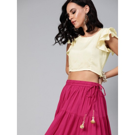 Women's Pink And Off-White Cotton Solid Top with Skirt. SM-544
