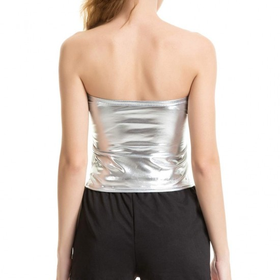 Women's Silver Solid Satin Tube Top. SM-633