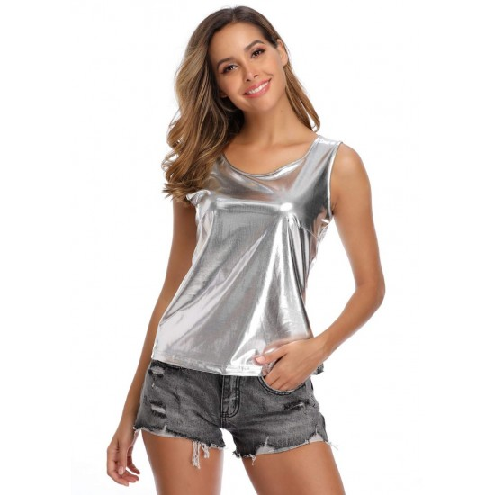 Women's Silver Solid Satin Vest Tank Top. SM-634