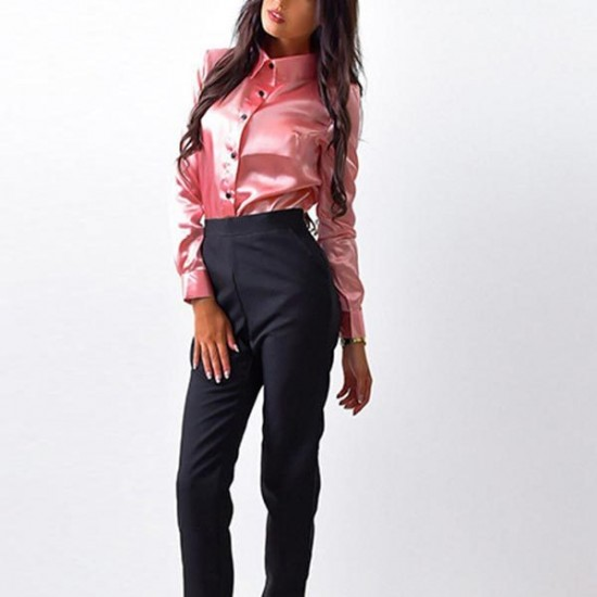 Women's Pink Long Sleeve Button Closure Solid Formal Shirt. SM-637