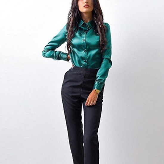 Women's Teal Green Long Sleeve Button Closure Solid Formal Shirt. SM-638