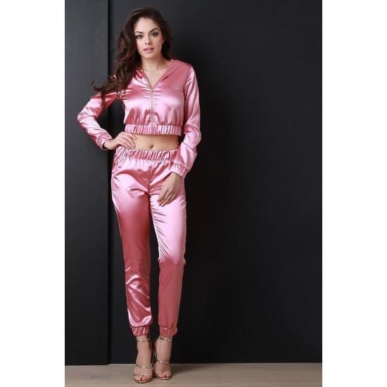 Women's Hot Pink Satin Silky Track Suit. SM-643