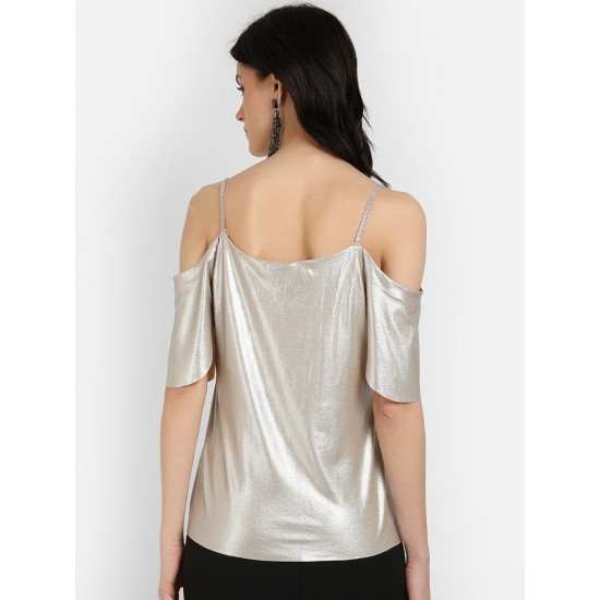 Women's Silver-Coloured Embellished A-Line Top. SM-647