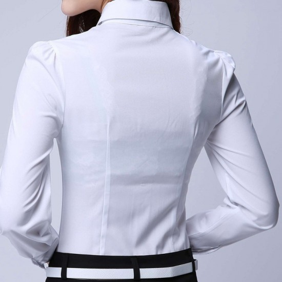 Women's White Cotton Pleated Long Sleeve Shirt. SM-655
