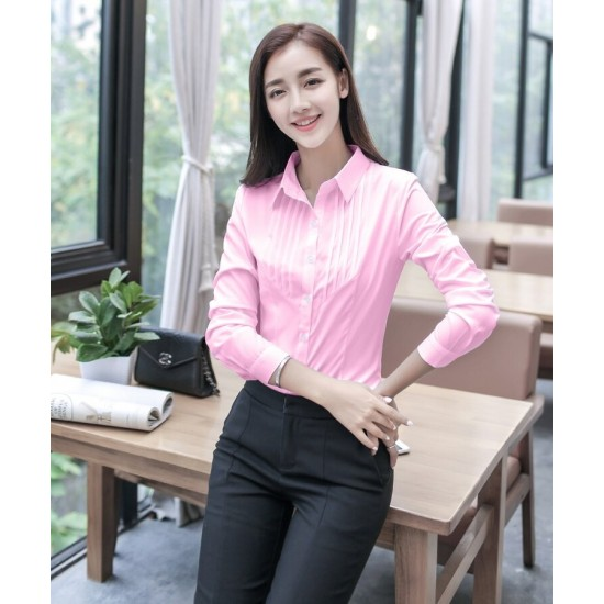 Women's Pink Cotton Pleated Front Long Sleeve Shirt. SM-656