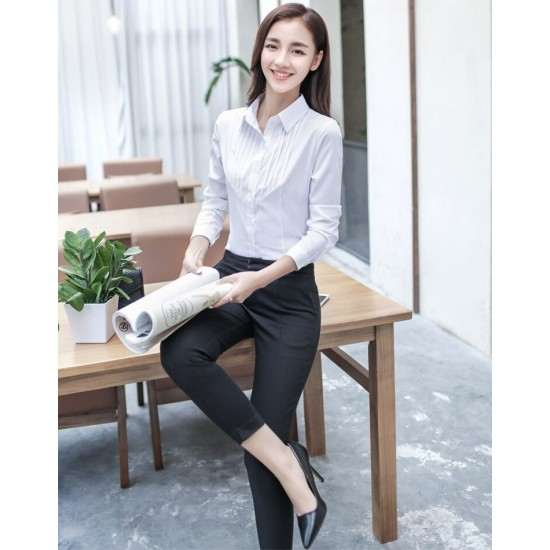Women's White Cotton Pleated Front Long Sleeve Shirt. SM-660