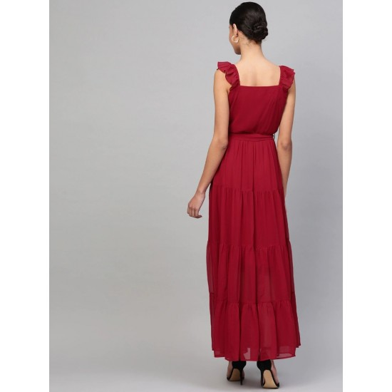 Women's Maroon Chiffon Solid Tiered Maxi Dress. SM-662