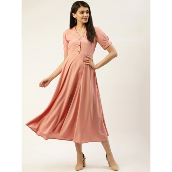 Women's Peach Solid Shirt Maxi Dress. SM-675