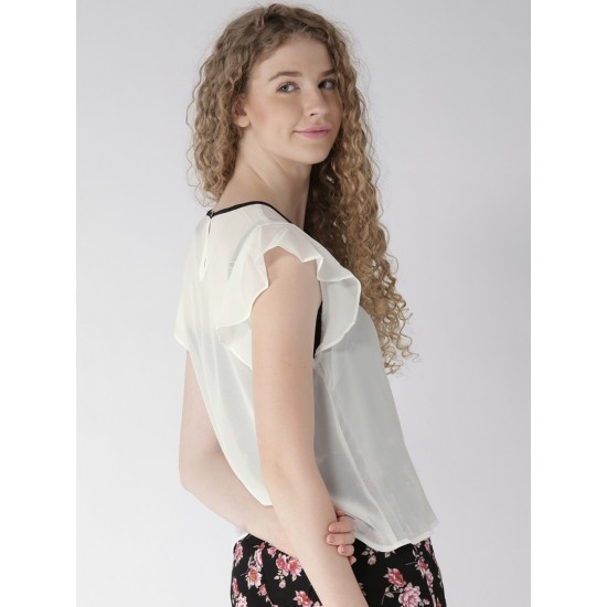 Women's White Chiffon Black Contrast Frilled Sleeve Top. SM-435