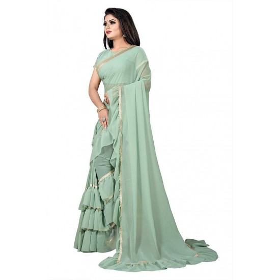 Women's Light Green Ruffle Chiffon Saree with Blouse. SM-440
