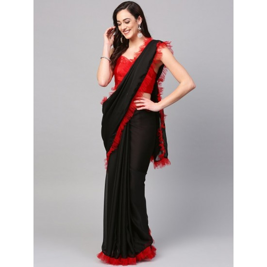 Women's Red And Black Plain Chiffon Ruffle Saree With Blouse. SM-442