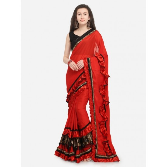 Women's Red And Black Plain Designer Chifon Ruffle Saree With Blouse. SM-444