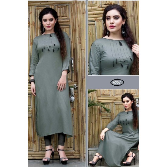 Women's Grey Solid Cotton Long Kurti. SM-449
