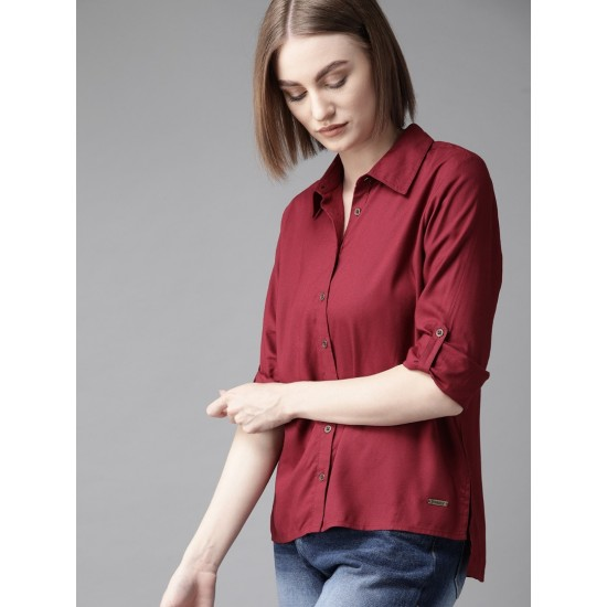 Women's Maroon Regular Fit Solid Casual High-Low Shirt. SM-450