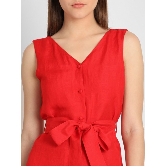 Women's Red Solid Cotton Cinched Waist Top. SM-458