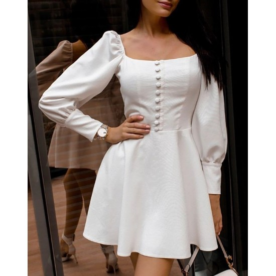 Women's White Solid Square Neck Puff Sleeves Skater Top. SM-462