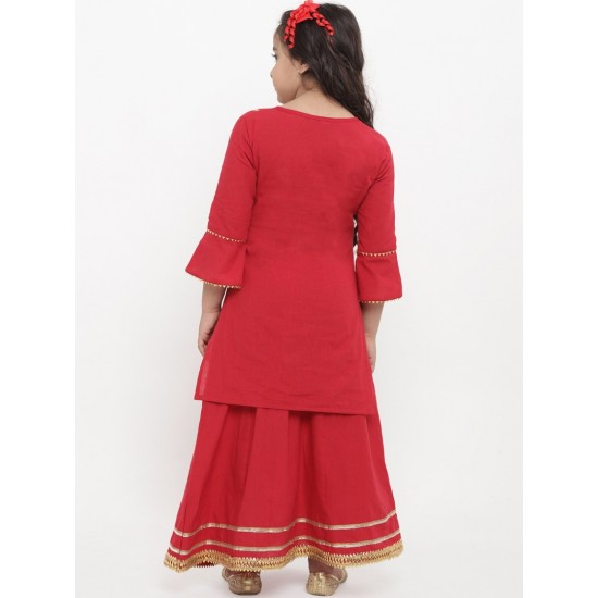 Girl's Red Striped Kurta with Skirt. SM-717