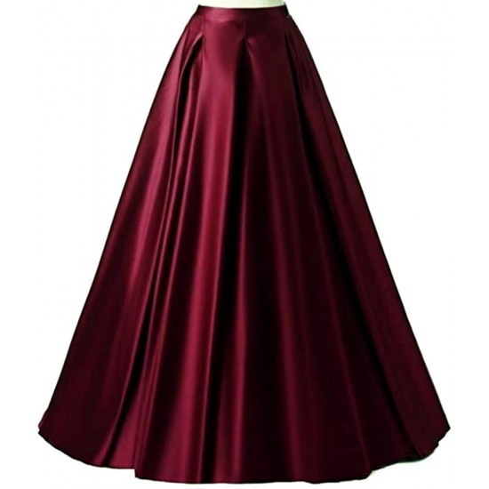 Women's Long Fashion High Waist A-Line Satin Skirts With Cancan. SM-761