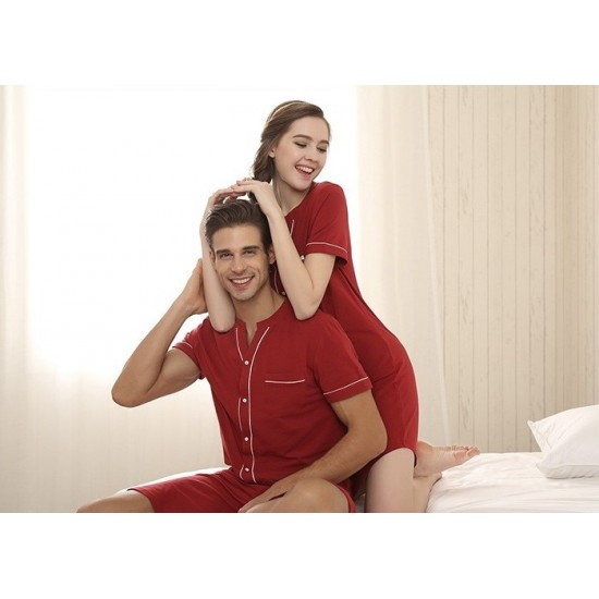 Maroon Cotton Contrast Couple Nightsuits With Shorts. SM-795