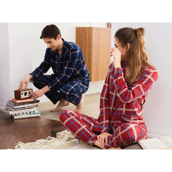 Navy And Maroon Checkered Couple Nightsuits. SM-797
