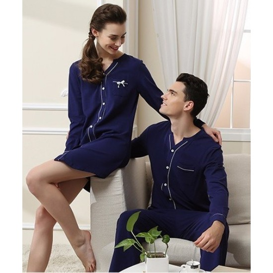Navy Cotton Contrast Couple Nightsuits With Pajama. SM-799