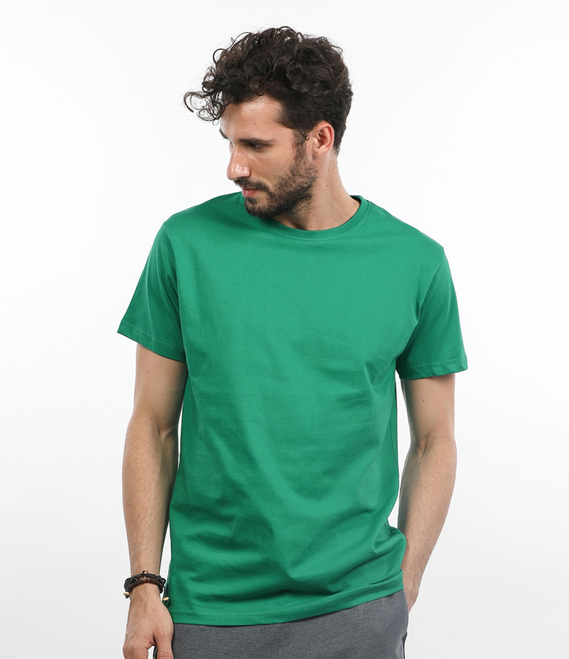Men's Solid Green Cotton T-shirt For Pakistan Independence Day. 14AUG-1