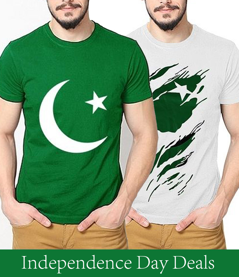 Men's Pack of 2 Printed Cotton T-shirts For Pakistan Independence Day. 14AUG-10