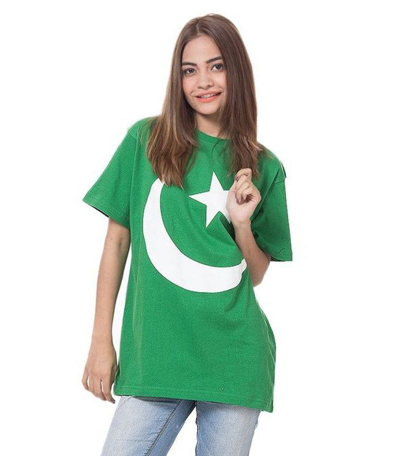Women's Green Chaand Sitara Printed Cotton T-shirt For Pakistan Independence Day. 14AUG-12