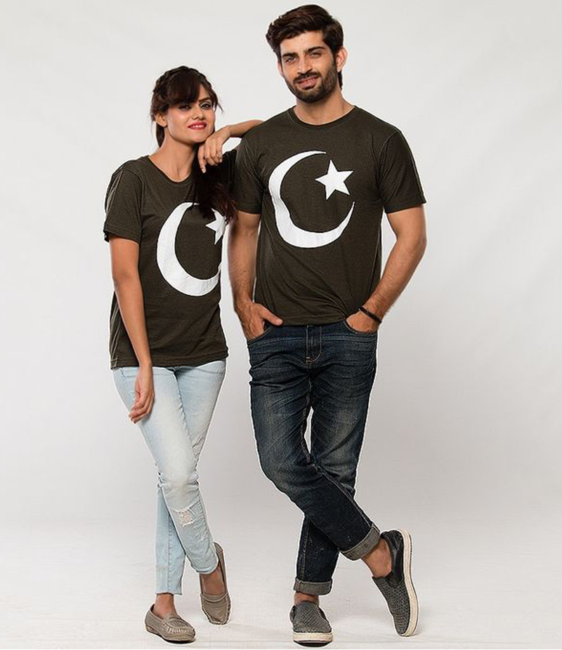 Men's Pack of 2 Chaand Sitara Cotton Couple T-shirts For Pakistan Independence Day. 14AUG-14