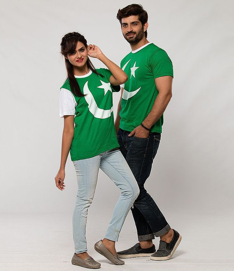 Men's Pack of 2 Flag Pattern Printed Cotton Couple T-shirts For Pakistan Independence Day. 14AUG-16