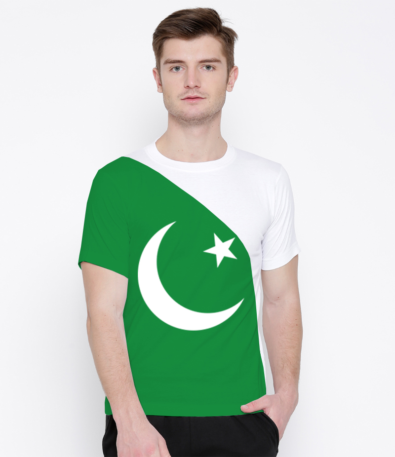Men's Pakistan Flag Pattern Printed T-shirt For Pakistan Independence Day. 14AUG-20