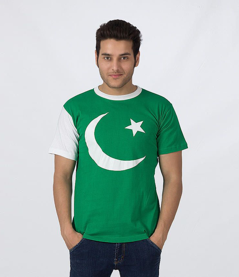 Men's Pakistan Flag Pattern Printed T-shirt For Pakistan Independence Day. 14AUG-3