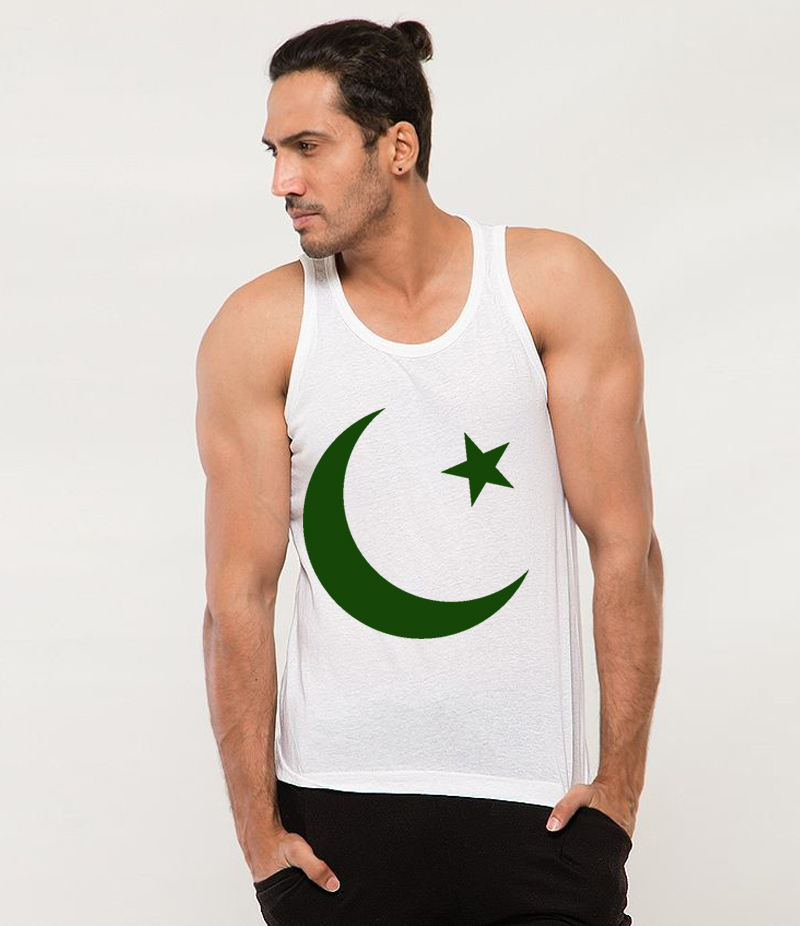 Men's White Chaand Sitara Printed Cotton Tank Top For Pakistan Independence Day. 14AUG-36
