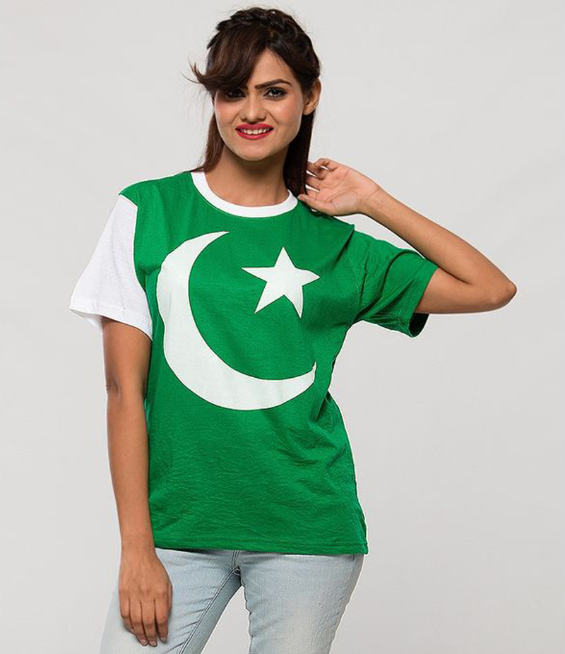 Women's Pakistan Flag Pattern Printed T-shirt For Pakistan Independence Day. 14AUG-4