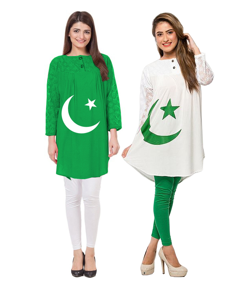 Women's Pack of 2 Linen Flag Printed Net Sleeves Kurti With Tights. 14AUG-30