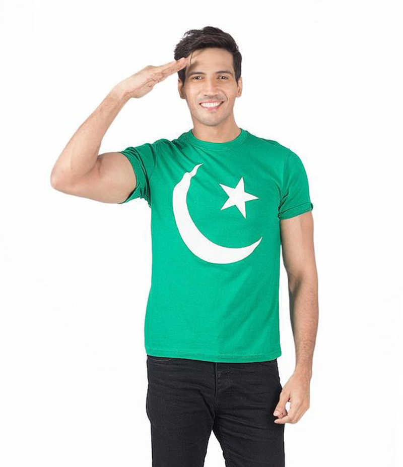 Men's Green Chaand Sitara Printed Cotton T-shirt For Pakistan Independence Day. 14AUG-7