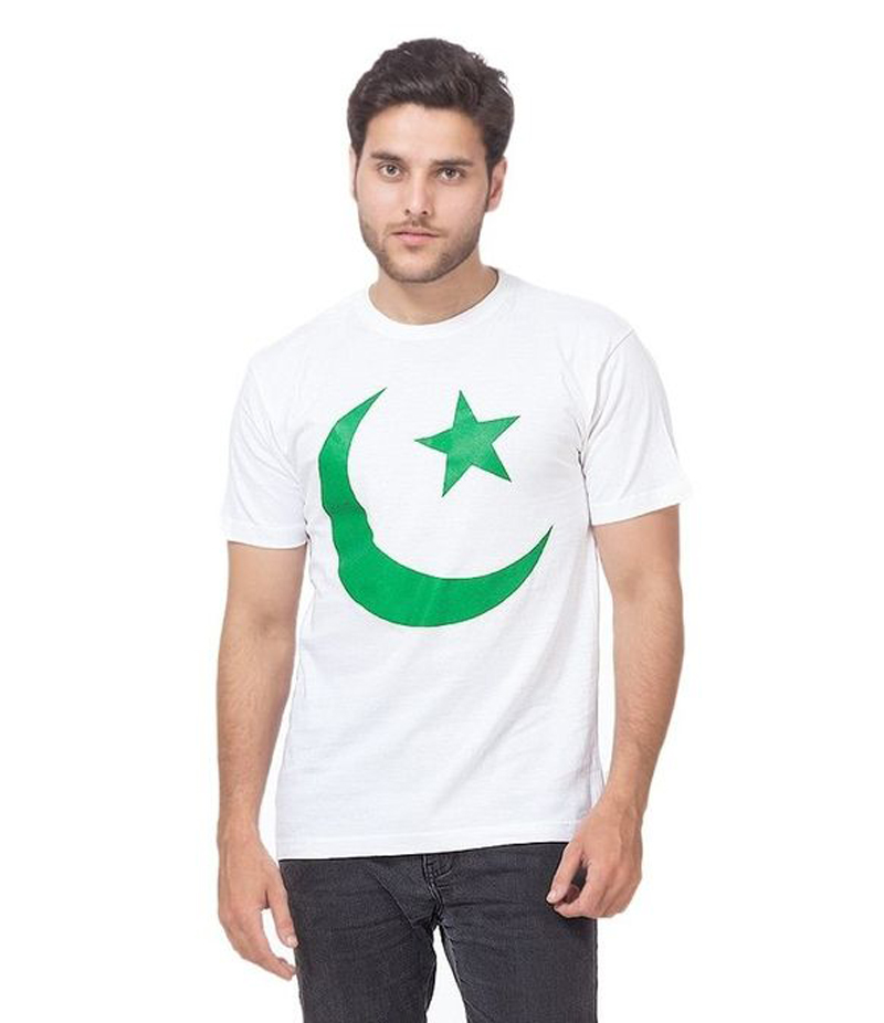 Men's White Chaand Sitara Printed Cotton T-shirt For Pakistan Independence Day. 14AUG-8