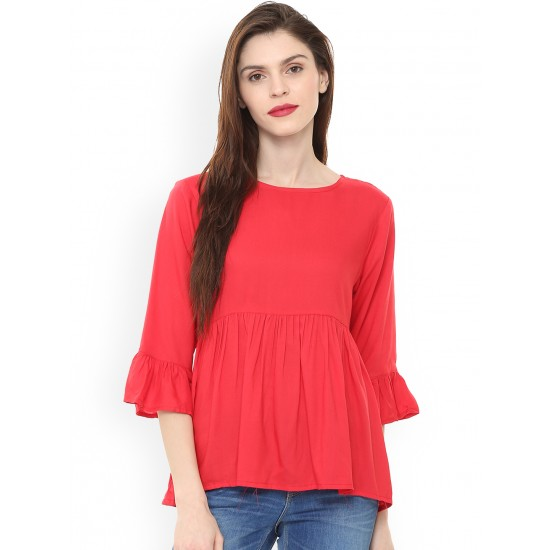 Red Solid Empire Bell Sleeves Top For Women. SD-1077