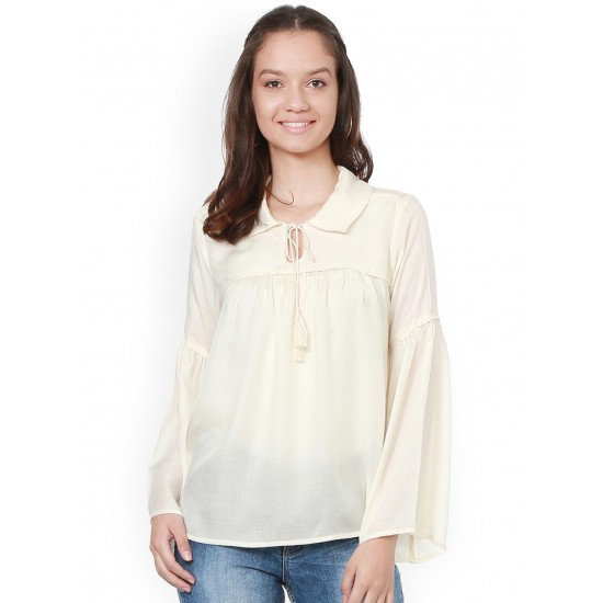 Cream Colored Pleated Bust Top For Women. SD-1078