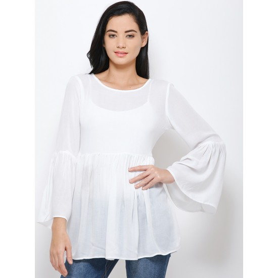 White Solid Cinched Waist Top For Women. SD-1080