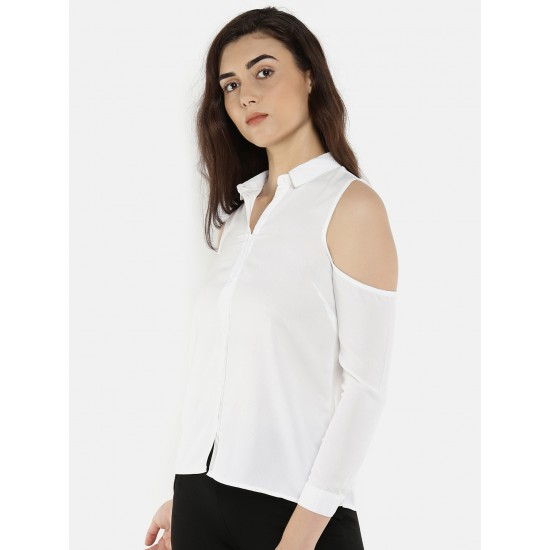 White Solid Cold Shoulder Buttondown Top For Women. SD-1081