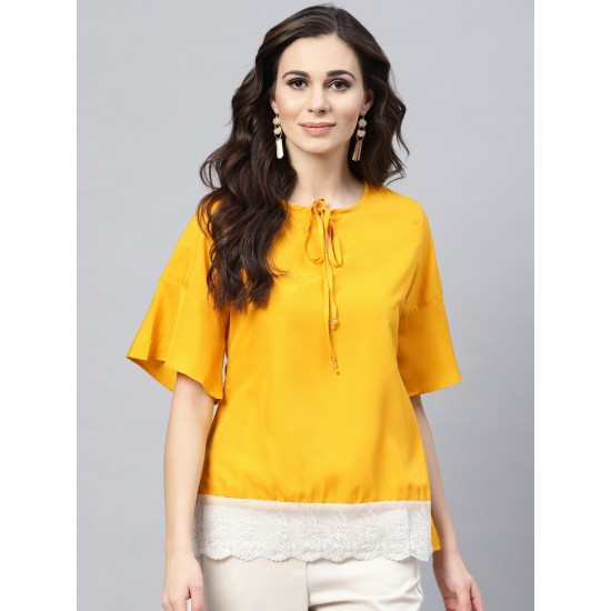 Yellow Cotton Front Lace Solid Top For Women. SD-1082
