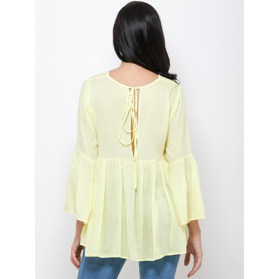 Yellow Solid Cinched Waist Top For Women. SD-1083