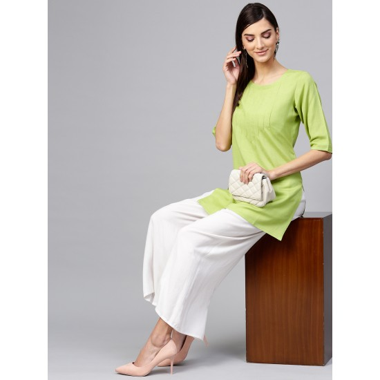 Green-White 2 Pieces Solid Straight Dress For Women. SD-1084