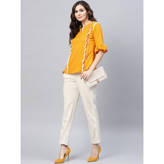 Mustard Yellow Solid A-Line Laced Top For Women. SD-1085